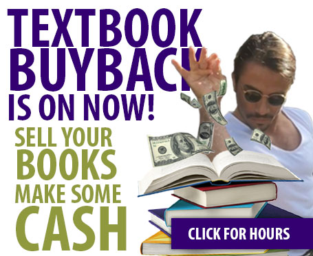 Image of man sprinkling money on a stack of books with text that says textbook buyback is on now sell your books make some cash click here for hours