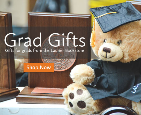 Image of a stuffed bear wearing a graduation outfit with text that says Grad Gifts, gifts for grads at the Laurier Bookstore