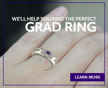 Image of a hand wearing a class ring with text that says we'll help you find the perfect grad ring, click here to learn more