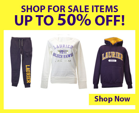 Image of Laurier clothing with text that says shop for sale items up to fifty percent off