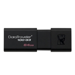 KINGSTON 64GB USB 3.0 DATATRAVELER 100 G3 - 64 GB - BLACK - 1 PACK - RETRACTABLE