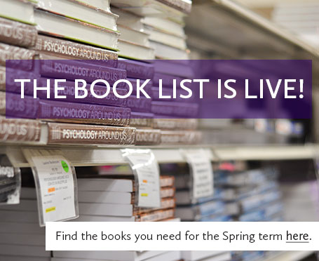 Image of textbooks on a shelf with text that says the book list is live, find the books you need for spring term here