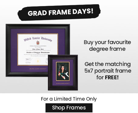 Image of degree frames with text that says grad frame promo buy your favourite degree frame and get the matching five by seven portrait frame for free for a limited time only shop frames now