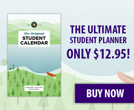 Image of a student planner with text that says the ultimate student planner only 12.95 buy now