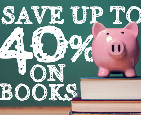 Image of a piggy bank on a stack of books with background text that says save up to 40 percent on books